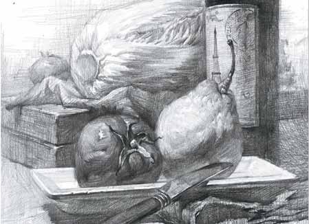 红酒瓶水果素描
