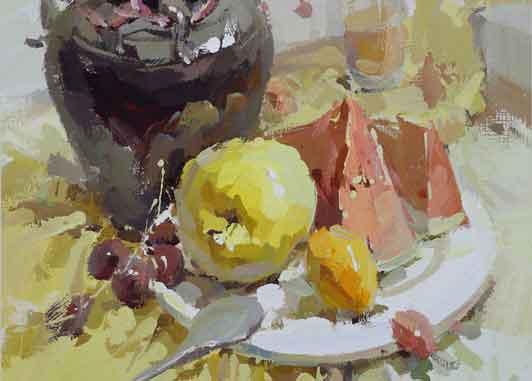 陶罐水果作品