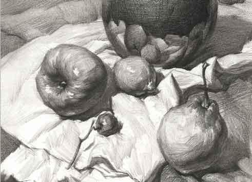 陶罐水果画