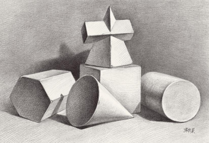 几何石膏像构图
